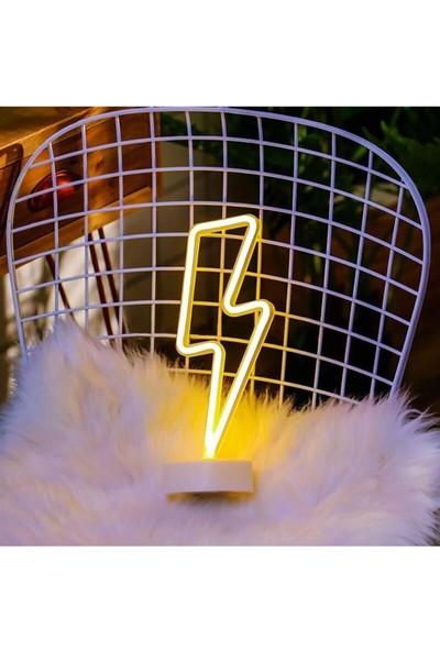 Technosmart Sarı Şimşek Model Neon LED Işıklı Masa Lambası Dekoratif Aydınlatma Gece Lambası