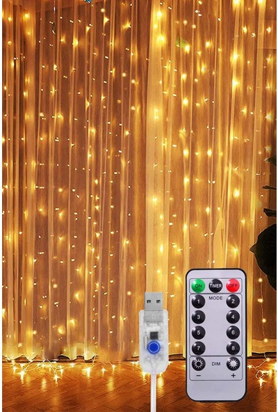 Technosmart Peri Telli Perde LED Işık Kumandalı 300 Ledli 3 x 3 Metre Usb'li 8 Animasyonlu Günışığı