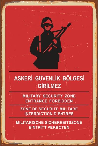 Atc Askeri Güvenlik Bölgesi Girilmez Retro Vintage Ahşap Poster