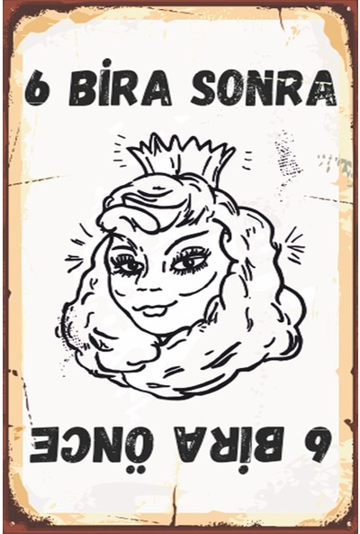 Atc Altı Bira Önce, Altı Bira Sonra Retro Vintage Ahşap Poster 2030002