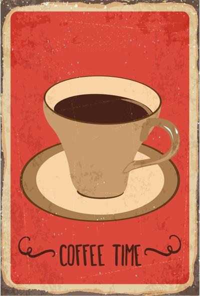 Atc Kahve Zamanı Retro Vintage Ahşap Poster