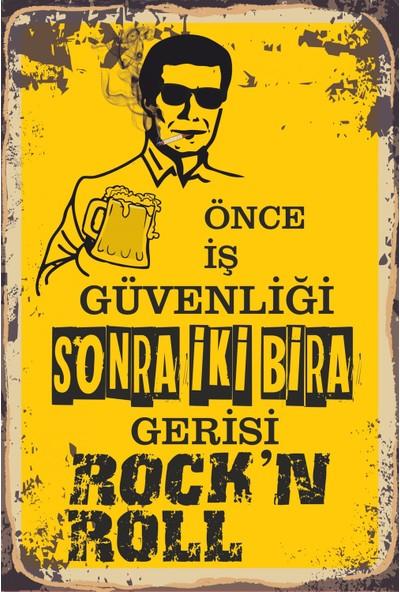 Atc Önce Iş Güvenliği Sonra Iki Bira Retro Vintage Ahşap Poster