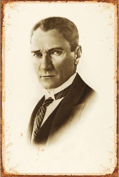 Atc Atatürk Retro Vintage Ahşap Poster