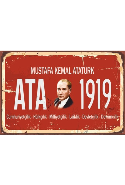 Atc Mustafa Kemal Atatürk Tabela Tarz Retro Vintage Ahşap Poster 2030044