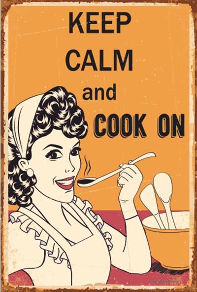 Atc Sakin Ol ve Yemek Yap Retro Vintage Ahşap Poster