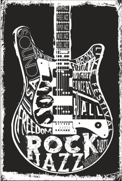 Atc Gitar Retro Vintage Ahşap Poster