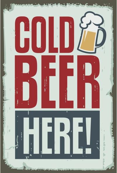 Atc Soğuk Bira Burada Retro Vintage Ahşap Poster