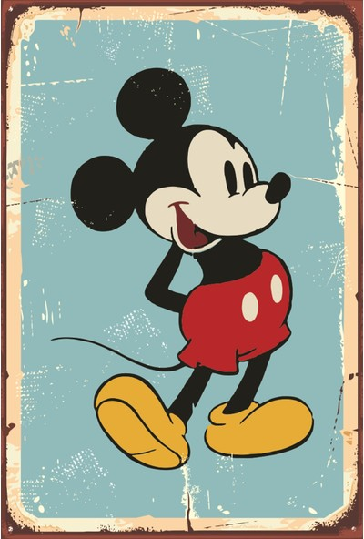 Atc Disney Micky Mause Retro Vintage Ahşap Poster