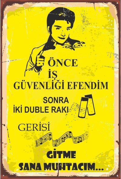 Atc Önce Iş Güvenliği Efendim Zeki Müren Retro Vintage Ahşap Poster