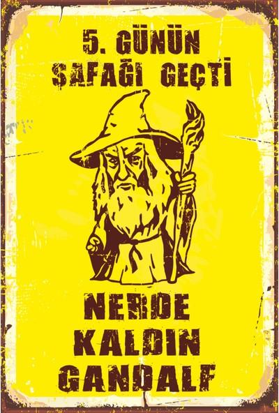Atc Yüzüklerin Efendisi Gandalf Retro Vintage Ahşap Poster