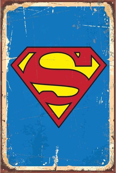 Atc Superman Logo Retro Vintage Ahşap Poster