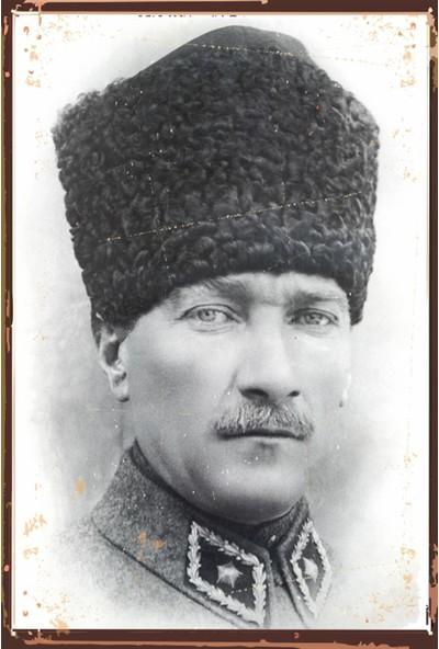 Atc Kalpaklı Mustafa Kemal Atatürk Retro Vintage Ahşap Poster