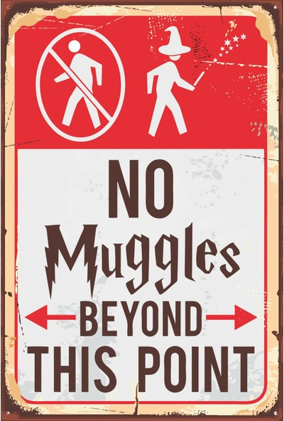 Atc Harry Potter No Muggles Beyond This Point Retro Vintage Ahşap Poster