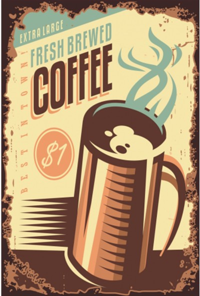 Atc Taze Kahve Retro Vintage Ahşap Poster