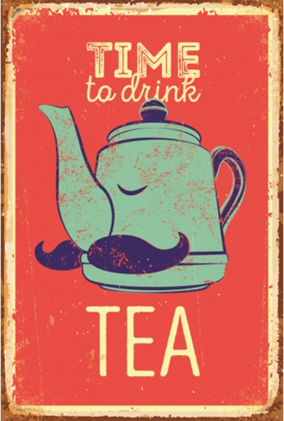 Atc Çay Zamanı Retro Vintage Ahşap Poster
