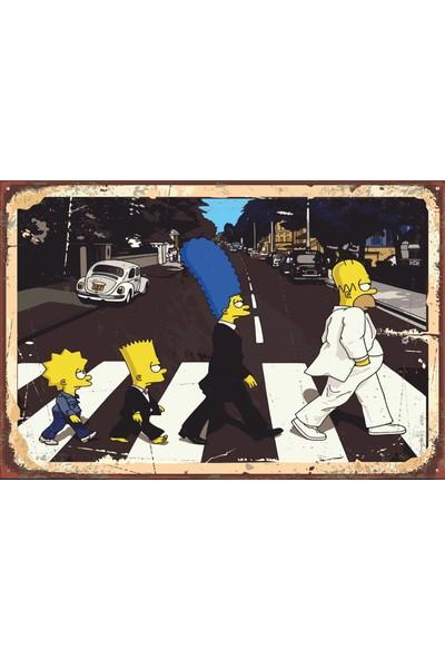 Atc Beatles Yürüyüşü Yapam Simpsonlar Retro Vintage Ahşap Poster