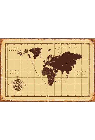 Atc Dünya Haritası Retro Vintage Ahşap Poster