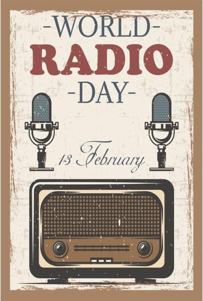 Atc Dünya Radyo Günü Retro Vintage Ahşap Poster