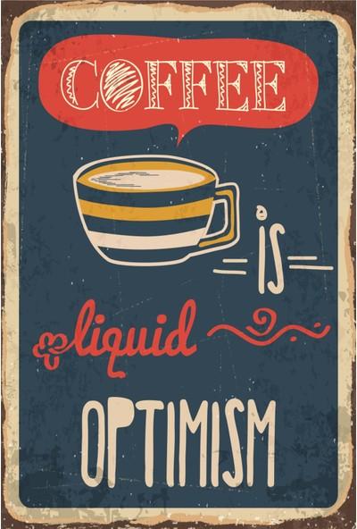 Atc Kahve Iyimser Retro Vintage Ahşap Poster