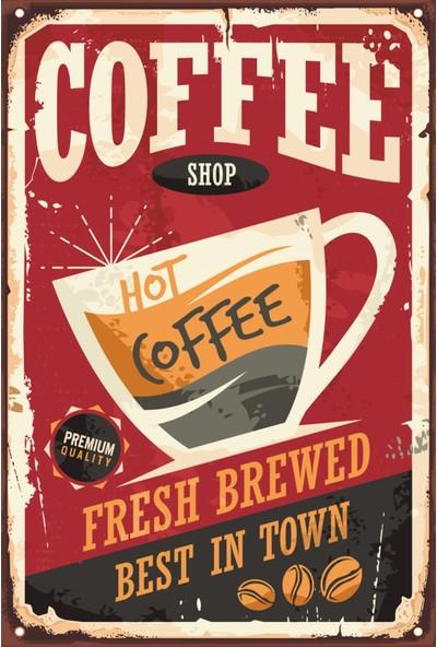 Atc Sıcak Kahve Retro Vintage Ahşap Poster