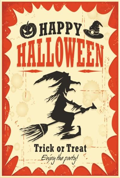 Atc Happy Halloween Mutlu Cadılar Bayramı Retro Vintage Ahşap Poster