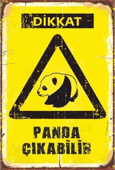 Atc Dikkat Panda Çıkabilir Retro Vintage Ahşap Poster