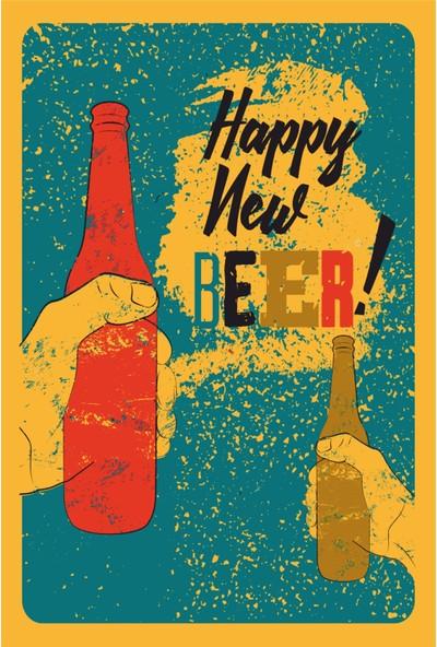 Atc Mutlu Yeni Biralar Retro Vintage Ahşap Poster