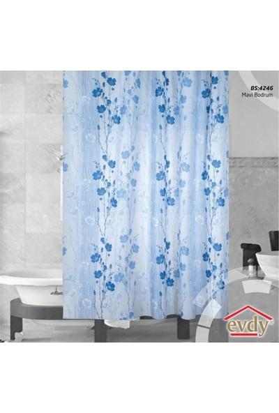 Evdy Duş Perdesi 4246 Mavi Bodrum Çift Kanat 100 x 200 cm