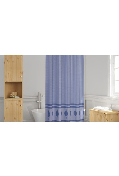 Evdy Duş Perdesi 5030 Mavi Çift Kanat 100 x 200 cm