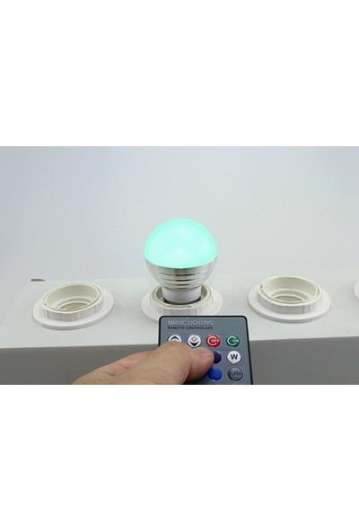 Taled 3 Watt Rgb LED Ampul-Uzaktan KUMANDALI-E27 Duy
