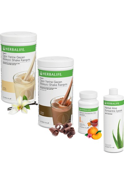 Herbalife Shake Vanilya 1 Çikolata 1 - Herbalife Çay Şeftali - Herbalife Aloe Vera