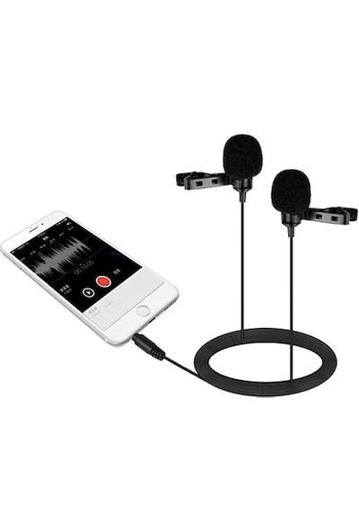 Cyber ES-3834 Ikili Profesyonel Yaka Mikrofonu - 1.5m
