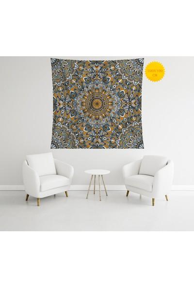 Retro Mandala ve Retro Tarz Duvar Örtüsü 100 x 100 cm 277