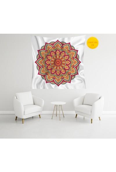 Retro Mandala ve Retro Tarz Duvar Örtüsü 100 x 100 cm 319