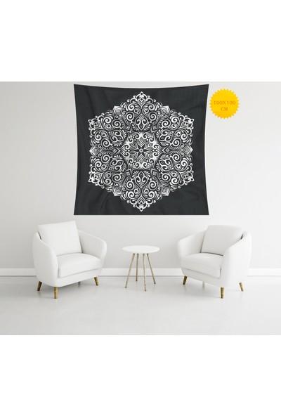 Retro Mandala ve Retro Tarz Duvar Örtüsü 100 x 100 cm 296