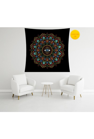 Retro Mandala ve Retro Tarz Duvar Örtüsü 100 x 100 cm 328