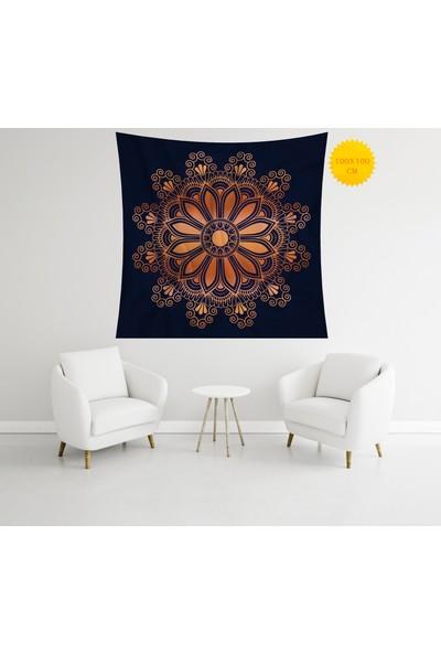 Retro Mandala ve Retro Tarz Duvar Örtüsü 100 x 100 cm 362