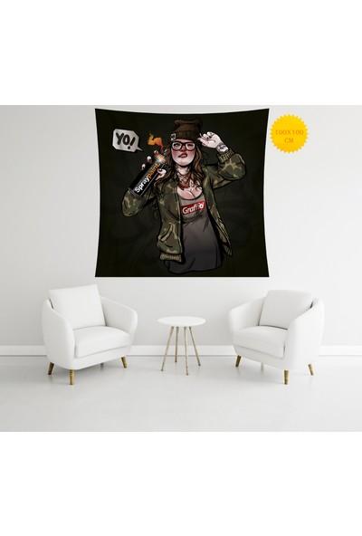 Retro Mandala ve Retro Tarz Duvar Örtüsü 100 x 100 cm 400