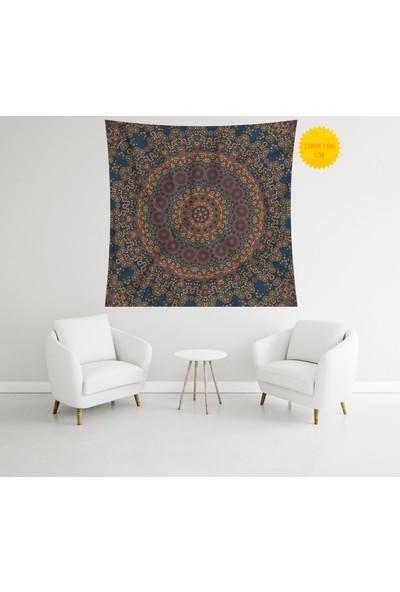 Retro Mandala ve Retro Tarz Duvar Örtüsü 100 x 100 cm 266