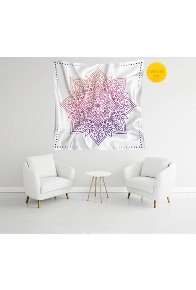 Retro Mandala ve Retro Tarz Duvar Örtüsü 100 x 100 cm 324