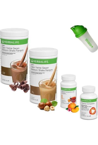 Herbalife Shake Çikolata 1 Fındık 1 - Herbalife Çay Şeftali - Herbalife Thermo Complete - Shaker