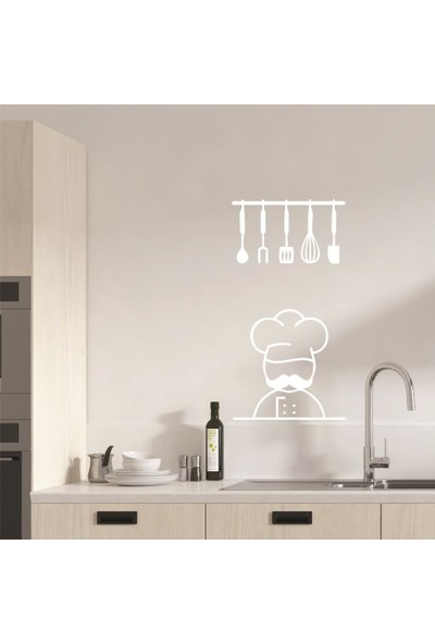 Dijitalya Aşçı ve Mutfak Aletleri Sticker | Duvar - Dolap | 50X75 cm | Beyaz