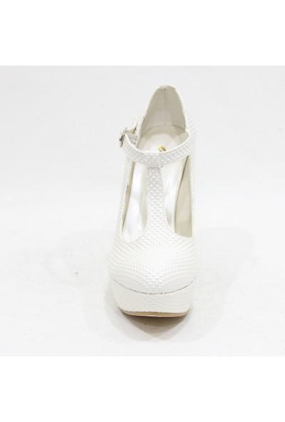 Arıcı 113 Krem Beyaz Bilekten Bağlamalı Abiye Platform Ayakkabı