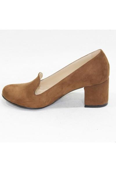 Arıcı Taba Süet Topuklu Klasik Ayakkabı