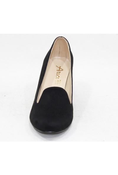 Arıcı Siyah Süet Topuklu Klasik Ayakkabı