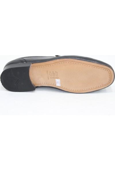 Özpolat OZ152 Siyah Kösele Rok Büyük Ayak Deri Ayakkabı