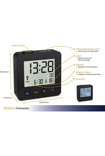 Tfa Dostmann Termometreli, Alarmlı Dijital Çalar Masa Saati -Siyah TM832.2031.01