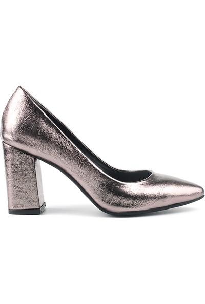 Marine Shoes Kadın Platin Suni Deri Topuklu Ayakkabı