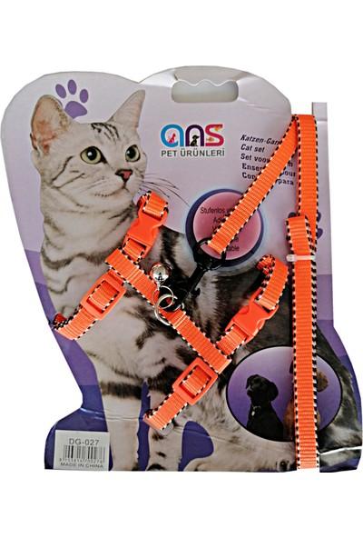 ANS Çizgi Işlemeli Kedi Göğüs Bel Tasması Dokuma Turuncu 20 * 32 cm