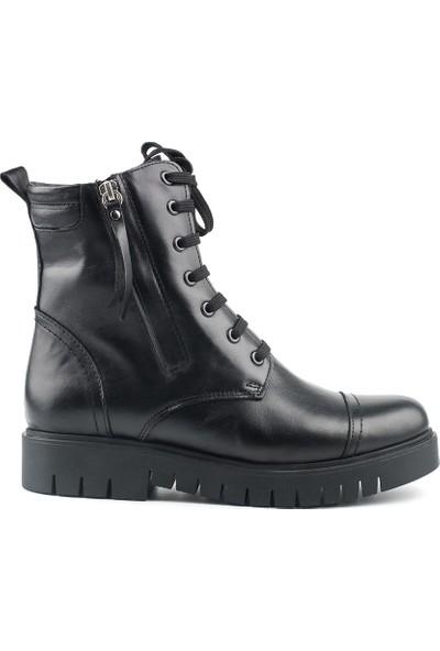 Marine Shoes Kadın Siyah Cilt Deri Bot